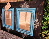 Double 5x7 Distressed Picture Frame, Damask print, Black / Linen / Desert Turquoise