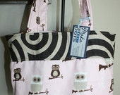 Pink and Brown Owl Tote Bag