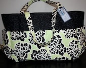 Mint Green and Black Diaper Bag With Matching Changing Pad and Baby Blanket