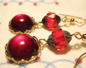 Ruby Red Cabochon and Red Glass Picasso Bead Dangle Earrings
