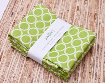 Large Cloth Napkins - Set of 4 - (N315) - Green Chartreuse Circle Modern Reusable Fabric Napkins