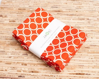 Large Cloth Napkins - Set of 4 - (N333) - Dark Orange Circle Modern Reusable Fabric Napkins