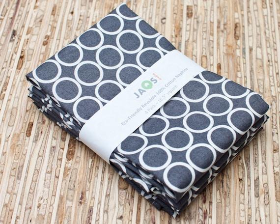 Large Cloth Napkins - Set of 4 - (N314) - Pewter Gray Modern Reusable Fabric Napkins