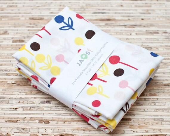Eco-Friendly Large Cloth Napkins - Set of 4 - (N197)