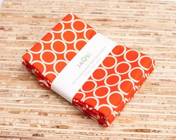 Large Cloth Napkins - Set of 4 - (N333) - Dark Orange Circle Modern Reusable Fabric Napkins