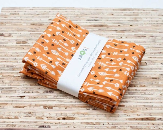 Organic Large Cloth Napkins - Set of 4 - (N562) - Orange Arrows Modern Reusable Fabric Napkins