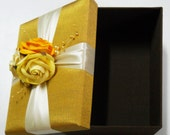 Large Wedding Favor Silk Gift Box with flower decoration in gold color