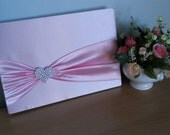 FREE SHIPPING Sweet Wedding Guest Book Satin Fabric Pink Color with pink rose guest book pen
