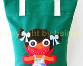 Fantastic Embroidered applique E Big Mouth Girl tote bag Green Color Thai Style