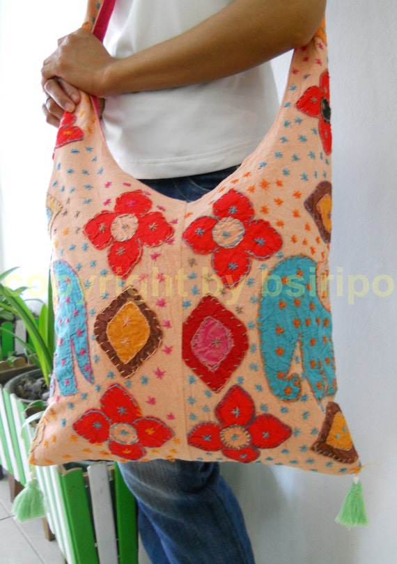 Embroidered Thai Bag Style in Peach Rose Color Crossbody Tote Bag with Embroidery