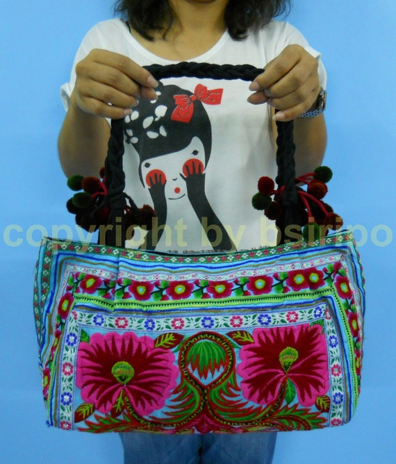 Hmong Ethnic Handmade Embroidered Fabrics Tote Bags from Thailand