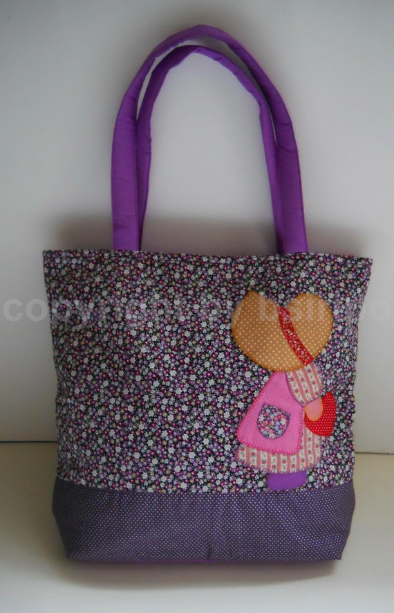 Embroidered Handbags Patchwork Tote Bag Madame Sue Purple Color Floral Cotton Fabric from Thailand