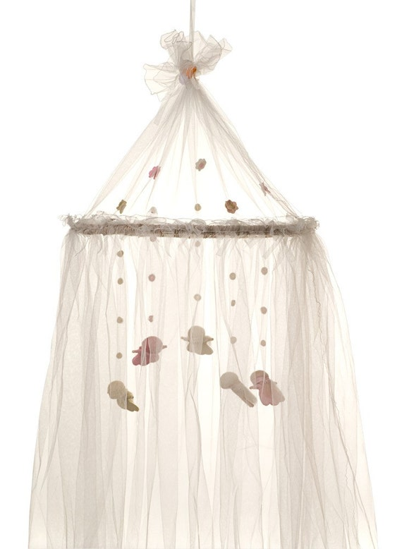 Items similar to pink fairies magical baby bed canopy for Baby girl canopy cribs