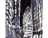 The Lloyds Building and Swiss Re (aka the Gherkin) , London
