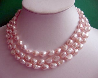48 Inch Long Baroque Pink Freshwater Pearl Rope Necklace