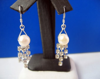 Beautiful Bridal Rhinestone, White Button Pearl, Sterling Silver Dangling Earrings