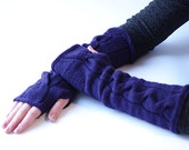 Extra long cozy wool blend fingerless gloves, wrist warmers, arm wamers, cable knit fingerless mittens