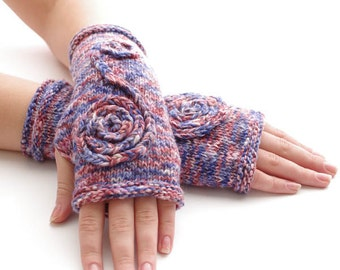 Hand knitted soft cotton fingerless gloves, wrist warmers, fingerless mittens in pink/red/blue/white melange colors