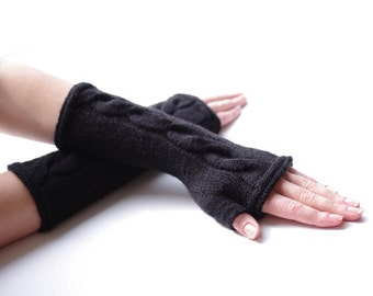 PURE virgin wool black cable knit fingerless gloves, wrist warmers, fingerless mitten, arm warmers-READY to ship