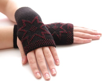 Soft PURE merino wool beaded fingerless gloves, fingerless mittens, wrist warmers in black with red beads and a star motif - READY to ship