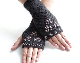 Hand knitted very soft and cozy pure merino wool beaded fingerless gloves, wrist warmers in dark grey - READY to ship
