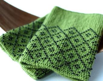 Peridot green wool and acrylic blend beaded wrist warmers