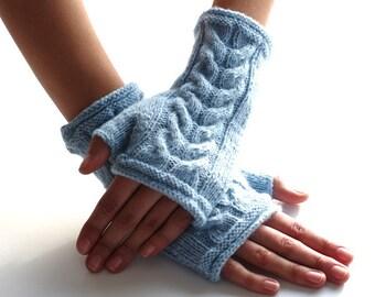 Light blue wool/polyamide blend fingerless gloves, wrist warmers, fingerless mittens, arm warmers - READY to ship