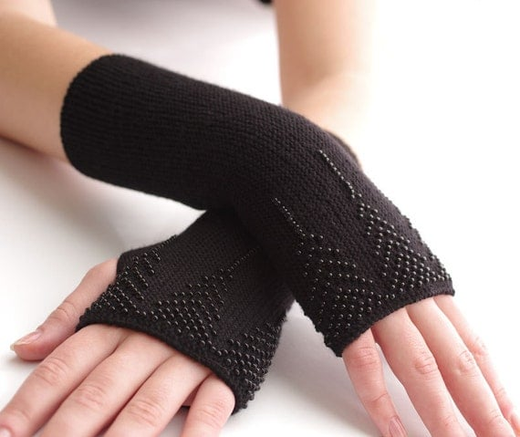 Very soft and cozy long PURE merino wool BEADED fingerless gloves/wrist warmers in black - READY to ship