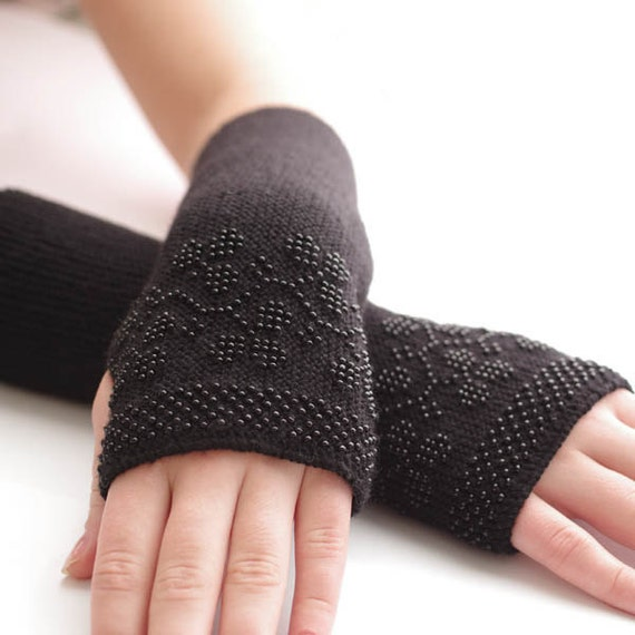 Soft long slim PURE merino wool fingerless gloves/wrist warmers in black with black winter berries - READY to ship