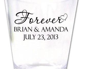 200 Wedding Favors Personalized Plastic Shot Glasses New Romantic Custom Designs