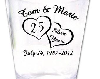 120 Personalized 25th Wedding Anniversary Favors Plastic Shot Glasses - Custom Logo