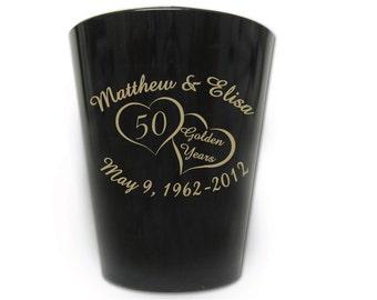120 Personalized 50th Wedding Anniversary Favor Plastic Shot Glasses - Custom Logo