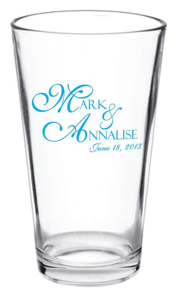 Customized Wedding Beer Glasses : ... 144 Personalized Custom Wedding Favor Glass Pub Pint Glasses on Etsy