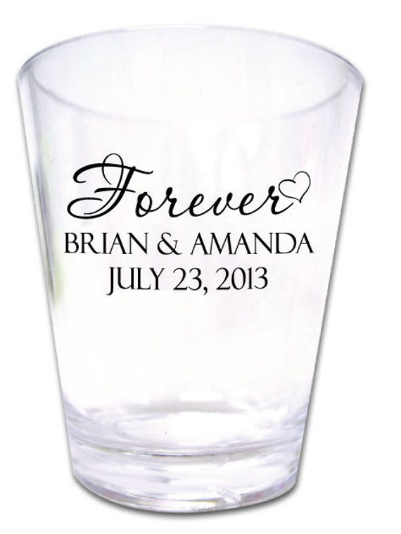 300 Wedding Favors Personalized Romantic Plastic Shot Glasses New Custom Designs