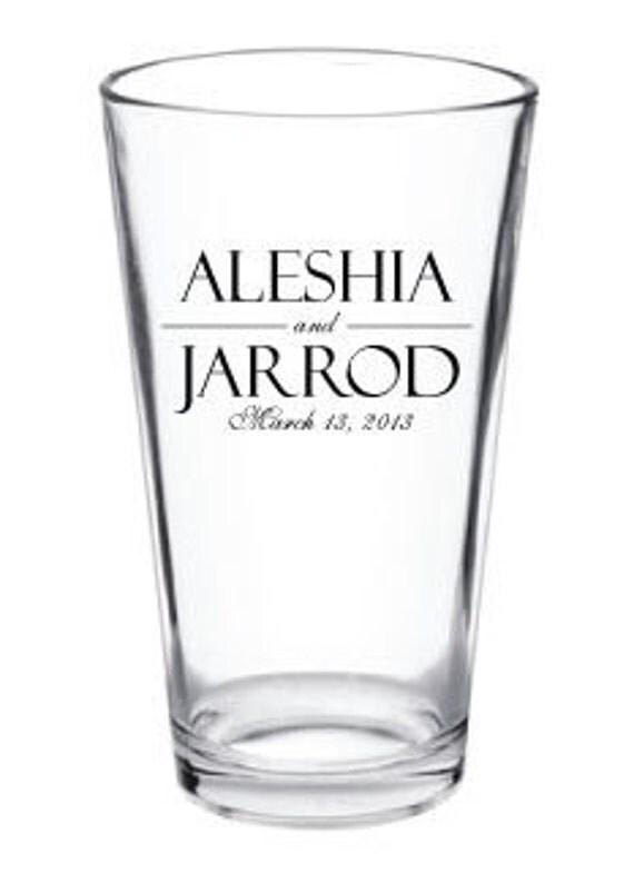 24 Personalized Custom Wedding Favor Glass Pub Pint Glasses