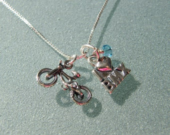 "Sterling I ""heart"" BMX and Bike Charm Necklace with Birthstone - SNBIKE02"