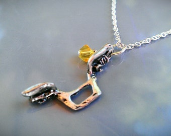 Bike Handlebar Silver Plated Birthstone Necklace - LNHAND01