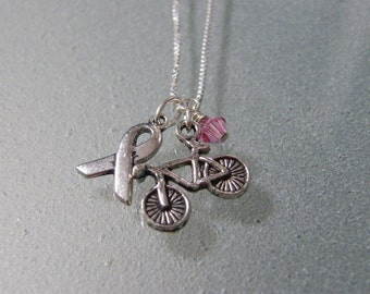 Tri-Charm Bicycle Breast Cancer Awareness Sterling Necklace - CANECK02