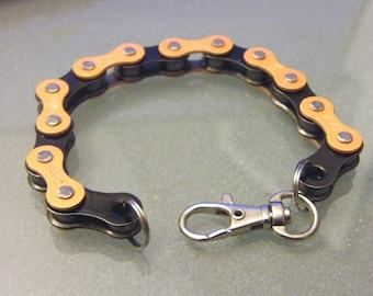 Orange and Black Two-Tone  Bike Chain Bracelet Harley Halloween - BCOBLK