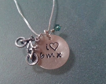 "I Love ""heart"" BMX Tri-Charm Sterling Necklace - SNBIKE03"