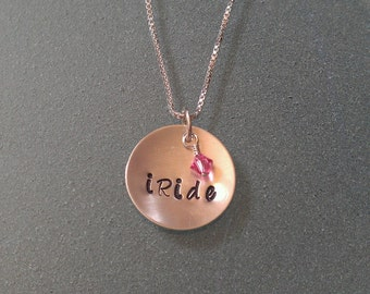 "Duo Charm ""iRide"" Breast Cancer Awareness Sterling Necklace - CANECK01"