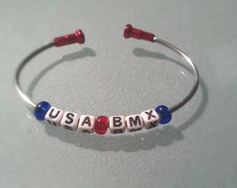 Personalized Bicycle Spoke Bracelet USA BMX Custom - SPOKE03