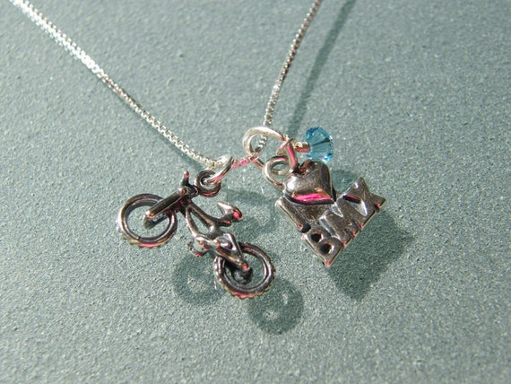 """Sterling I """"heart"""" BMX and Bike Charm Necklace with Birthstone - SNBIKE02"""