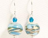 Water Tones Glass Bead Earrings, Aqua Turquoise Ivory Lines Lampwork Earrings, Blue Ivory Glass Earrings - Water Swirls - DaviniaDesign
