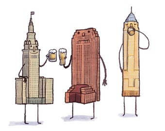 Cleveland Skyline print- Beerveland