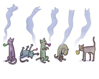 Cats smoking pipes- art print