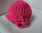 Crochet Newsboy Hat with flower - Pink for kids or adults
