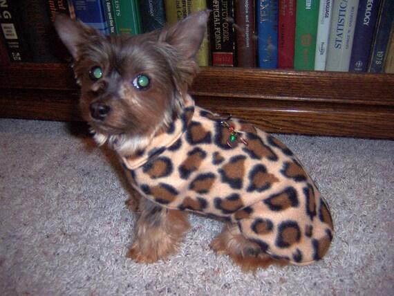 Dog Coat Harness fleece with fleece lining, warm soft Glacier Fleece in Cheetah print, or choose from 4 other prints.