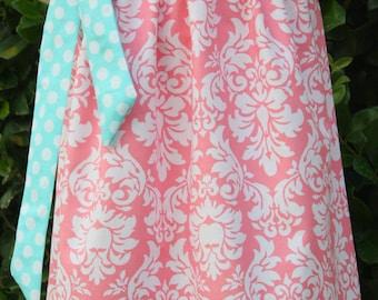 Petal Damask and  Ocean Polka Dot Pillowcase Dress