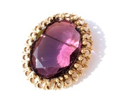 Vintage Faceted Glass Brooch Pendant 1960s Purple Amethyst LARGE